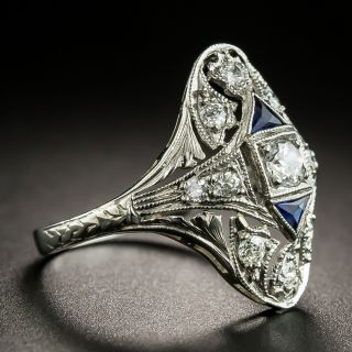 Art Deco Diamond and Sapphire Dinner Ring