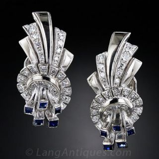 Art Deco Diamond and Sapphire Ear Clips - 1