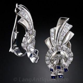 Art Deco Diamond and Sapphire Ear Clips