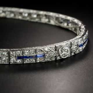 Art Deco Diamond and Sapphire Tapered Line Bracelet - 2