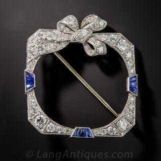 Art Deco Diamond and Sapphire Wreath Brooch