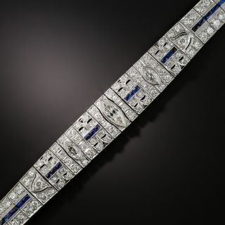 Art Deco Diamond and Synthetic Sapphire Bracelet - 2
