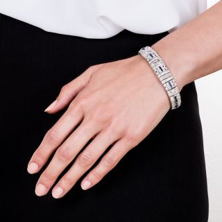 Art Deco Diamond and Synthetic Sapphire Bracelet
