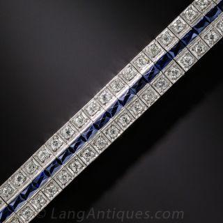 Art Deco Diamond and Synthetic Sapphire Bracelet - 1