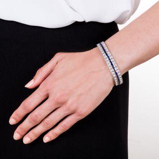 Art Deco Diamond and Synthetic Sapphire Bracelet