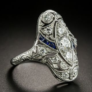 Art Deco Diamond and Synthetic Sapphire Dinner Ring