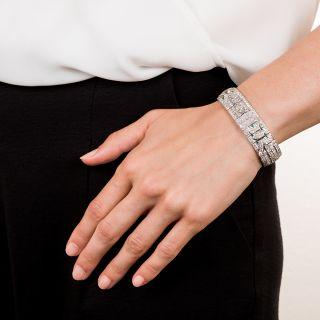Art Deco Diamond Bracelet with Calibre Emeralds