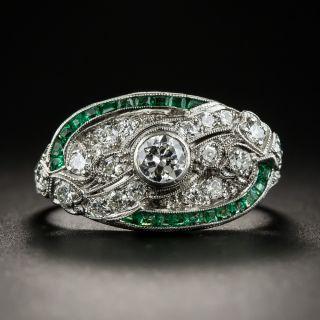 Art Deco Diamond Calibre Emerald Ring - 2