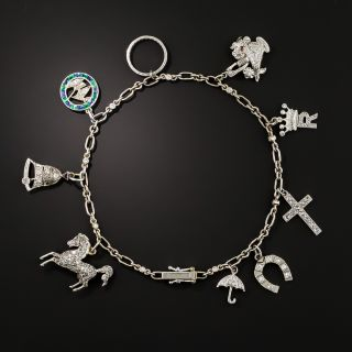 Art Deco Diamond Charm Bracelet - 1