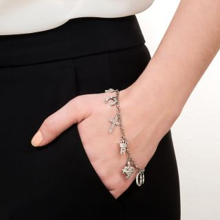 Art Deco Diamond Charm Bracelet
