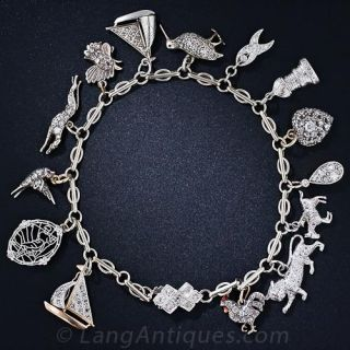 Art Deco Diamond Charm Bracelet - 1