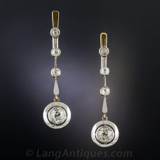 Art Deco Diamond Drop Earrings - 2