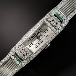 Art Deco Diamond Emerald Platinum Mesh Bracelet Watch
