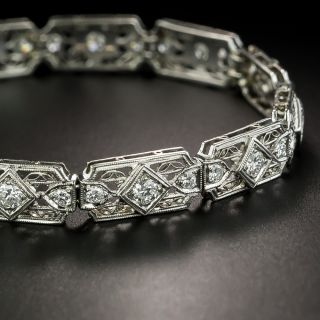 Art Deco Diamond Filigree Link Bracelet - 2