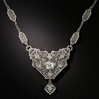 Art Deco Diamond Filigree Necklace  - 2