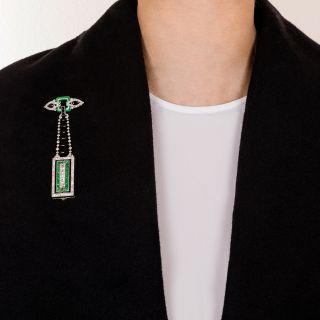 Art Deco Diamond, Jade, and Black Onyx Lapel Watch