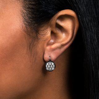 Art Deco Diamond Onyx Drop Earrings