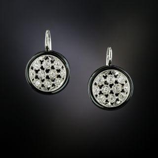 Art Deco Diamond Onyx Drop Earrings - 3