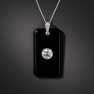 Art Deco Diamond Onyx Pendant  - 2
