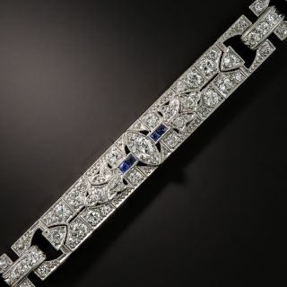 Art Deco Diamond Platinum Calibre Sapphire Bracelet - 1