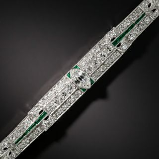 Art Deco Diamond Platinum Green Glass Bracelet - 6
