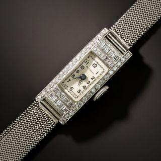 Art Deco Diamond Platinum Mesh Bracelet Watch - 2