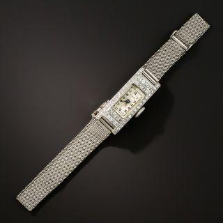 Art Deco Diamond Platinum Mesh Bracelet Watch