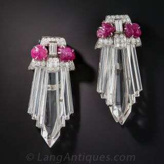Art Deco Diamond, Ruby and Rock Crystal Clips - 2