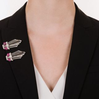 Art Deco Diamond, Ruby and Rock Crystal Clips