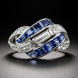 Art Deco Diamond, Sapphire and Platinum Ring - 1