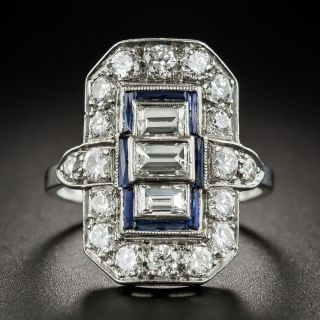 Art Deco Diamond Sapphire Platinum Dinner Ring - 2