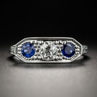 Art Deco Diamond Sapphire Three-Stone Ring - 1