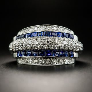 Art Deco Diamond Synthetic Sapphire Band Ring - 1
