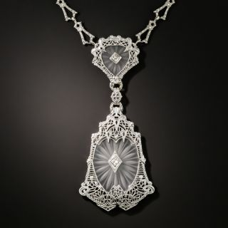 Art Deco Double Crystal Diamond Necklace - 2