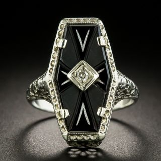 Art Deco Elongated Hexagonl Onyx and Diamond Ring - 3