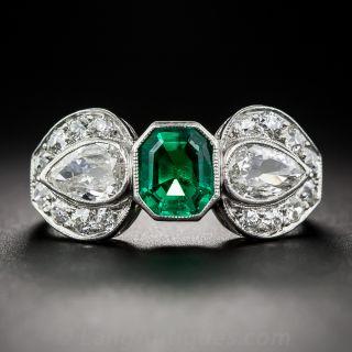 Art Deco .85 Carat Emerald and Diamond  Ring - 1