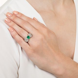 Art Deco Emerald and Diamond Bow Ring
