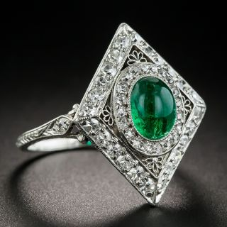 Art Deco Emerald and Diamond Dinner Ring