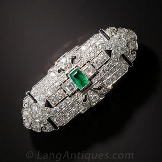 Art Deco Emerald, Diamond and Onyx Brooch - 1