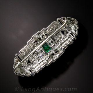 Art Deco Emerald Diamond and Onyx Brooch