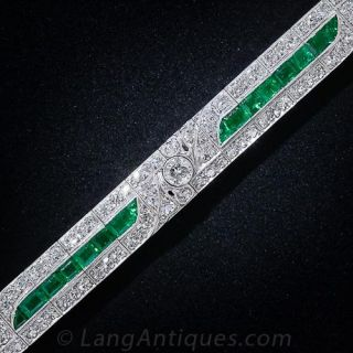 Art Deco Emerald Diamond Line Bracelet  - 1