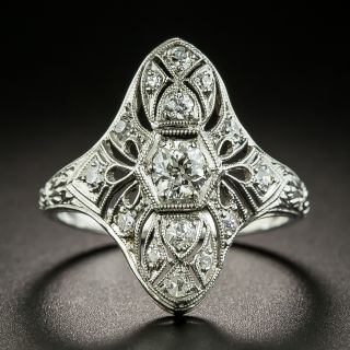 Art Deco Engraved Three-Stone Diamond Dinner Ring - 1