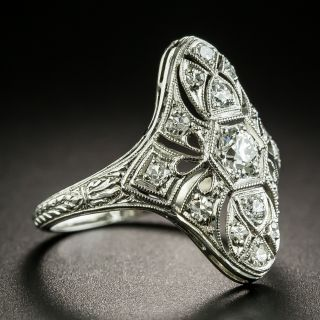 Art Deco Engraved Three-Stone Diamond Dinner Ring
