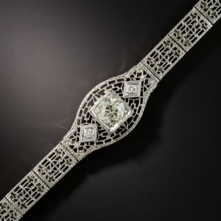 Art Deco Filigree Diamond Bracelet  - 3