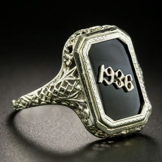Art Deco Filigree Onyx 1936 Ring