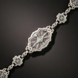 Art Deco Filigree Quartz and Diamond Bracelet by Shiman - 2