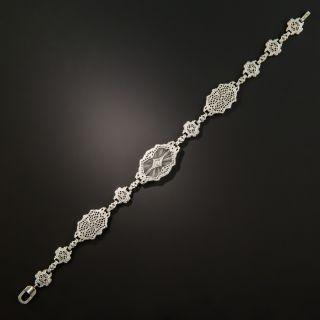 Art Deco Filigree Quartz and Diamond Bracelet by Shiman