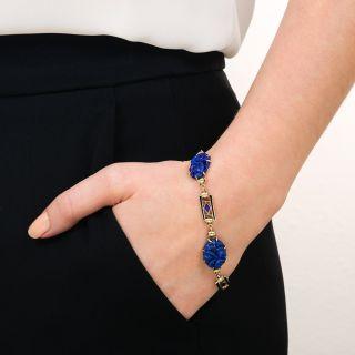 Art Deco Geometric Enamel and Carved Lapis Bracelet by Richardson & Co