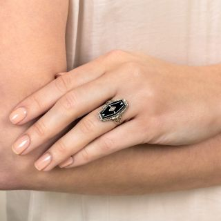 Art Deco Hexagonal Onyx and Diamond Dinner Ring