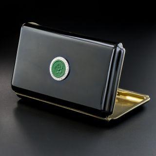 Art Deco Jade, Diamond & Enamel Cigarette Case  - 1